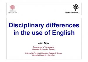 Disciplinary differences in the use of English