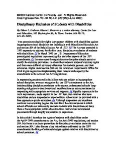 Disciplinary Exclusion of Students with Disabilities