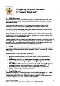 Disciplinary Policy and Procedure for Academy Based Staff