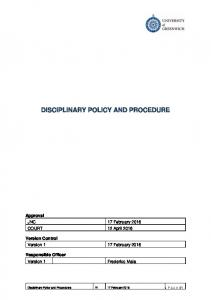 DISCIPLINARY POLICY AND PROCEDURE