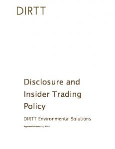 Disclosure and Insider Trading Policy