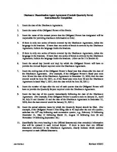 Disclosure Dissemination Agent Agreement (Conduit Quarterly Form) Instructions for Completion