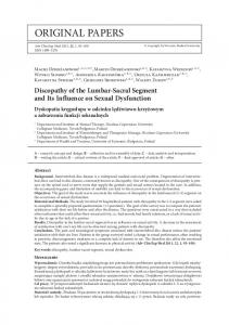 Discopathy of the Lumbar-Sacral Segment and Its Influence on Sexual Dysfunction