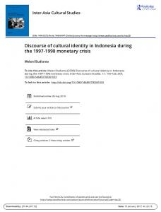 Discourse of cultural identity in Indonesia during the monetary crisis