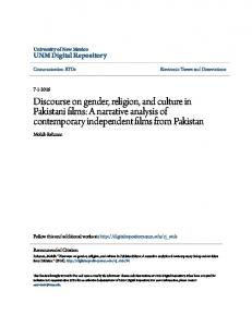 Discourse on gender, religion, and culture in Pakistani films: A narrative analysis of contemporary independent films from Pakistan