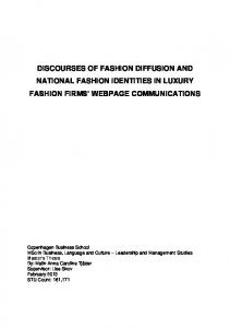 DISCOURSES OF FASHION DIFFUSION AND NATIONAL FASHION IDENTITIES IN LUXURY FASHION FIRMS WEBPAGE COMMUNICATIONS