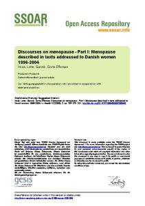 Discourses on menopause - Part I: Menopause described in texts addressed to Danish women Hvas, Lotte; Gannik, Dorte Effersøe