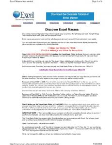 Discover Excel Macros
