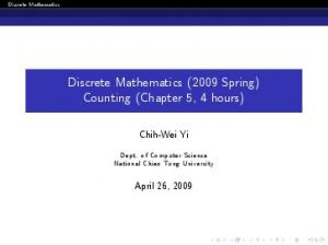 Discrete Mathematics (2009 Spring) Counting (Chapter 5, 4 hours)