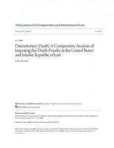 Discretionary Death: A Comparative Analysis of Imposing the Death Penalty in the United States and Islamic Republic of Iran
