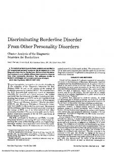 Discriminating Borderline Disorder From Other Personality Disorders