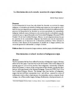 Discrimination at school: teachers of indigenous origin