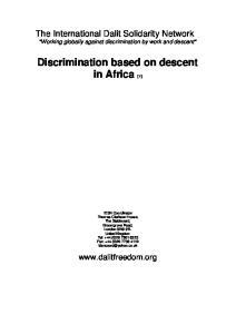 Discrimination based on descent in Africa [1]