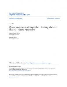 Discrimination in Metropolitan Housing Markets: Phase 3 - Native Americans