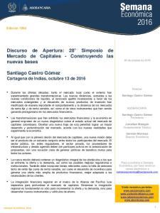 Discurso de Apertura: 28 Simposio de Mercado de Capitales - Construyendo las nuevas bases