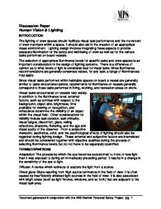 Discussion Paper Human Vision & Lighting