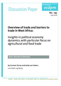 Discussion Paper. Overview of trade and barriers to trade in West Africa: