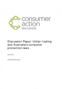 Discussion Paper: Unfair trading and Australia's consumer protection laws