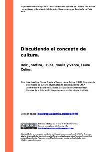 Discutiendo el concepto de cultura