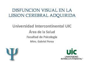 DISFUNCION VISUAL EN LA LESION CEREBRAL ADQUIRIDA. Universidad Intercontinental UIC