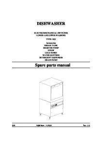 DISHWASHER. Spare parts manual