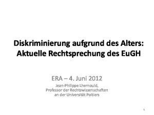 Diskriminierung aufgrund des Alters: Aktuelle Rechtsprechung des EuGH