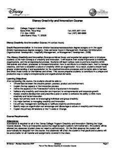 Disney Creativity and Innovation Course