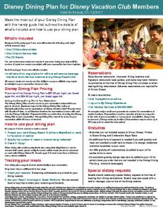 Disney Dining Plan for Disney Vacation Club Members