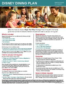 DISNEY DINING PLAN. What s included. How to use your dining plan. Gratuities. Tracking your meals. Special dietary requests