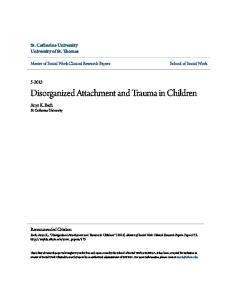 Disorganized Attachment and Trauma in Children