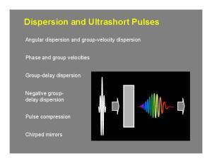 Dispersion and Ultrashort Pulses