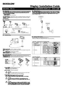 Display Installation Guide CUSTOMER DISPLAY BCD-1100
