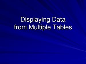 Displaying Data from Multiple Tables