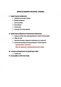 DISPOSAL OF EQUIPMENT AND SUPPLIES GUIDELINES