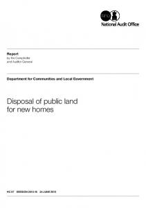 Disposal of public land for new homes