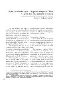 Disputa territorial entre la República Popular China y Japón: Las Islas Senkaku o Diaoyu