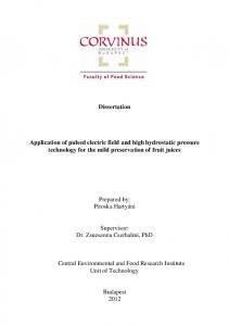 Dissertation. Application of pulsed electric field and high hydrostatic pressure technology for the mild preservation of fruit juices