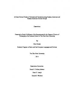 Dissertation. Ellen Bunker. Graduate Program in Slavic and East European Languages and Cultures. The Ohio State University. Dissertation Committee: