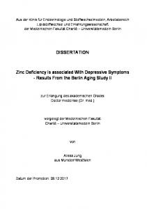 DISSERTATION. Zinc Deficiency Is associated With Depressive Symptoms - Results From the Berlin Aging Study II