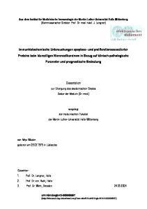 Dissertation. zur Erlangung des akademischen Grades Doktor der Medizin (Dr. med.)
