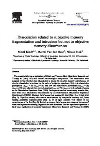 Dissociation related to subjective memory fragmentation and intrusions but not to objective memory disturbances