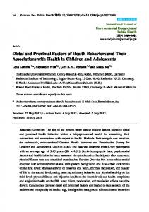 Distal and Proximal Factors of Health Behaviors and Their Associations with Health in Children and Adolescents