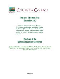 Distance Education Plan December 2012
