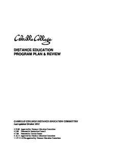 DISTANCE EDUCATION PROGRAM PLAN & REVIEW