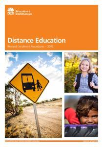 Distance Education. Revised Enrolment Procedures 2013