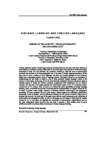 DISTANCE LEARNING AND FOREIGN LANGUAGE TEACHING
