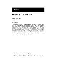DISTANT HEALING. Review ABSTRACT. Daniel J. Benor, M.D. KEYWORDS: Spiritual healing, distant healing, research
