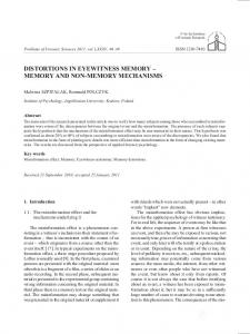 DISTORTIONS IN EYEWITNESS MEMORY MEMORY AND NON-MEMORY MECHANISMS