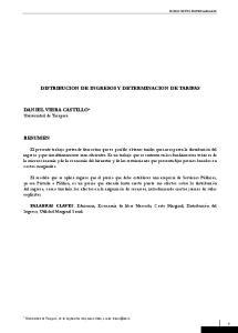 DISTRIBUCION DE INGRESOS Y DETERMINACION DE TARIFAS