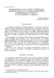 DISTRIBUCION, POBLACION Y SELECCION DE HABITAT DE LA ALONDRA DE DUPONT EN LA PENINSULA IBERICA